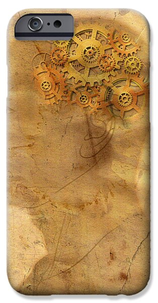 Concentration Digital iPhone Cases - Gears In The Head iPhone Case by Michal Boubin