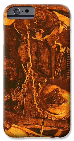 Gears in Yellow iPhone Case by Ann Powell