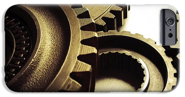 Machinery iPhone Cases - Gears iPhone Case by Les Cunliffe