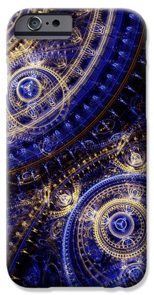 Abstract Digital Art iPhone Cases - Gears Of Time iPhone Case by Martin Capek