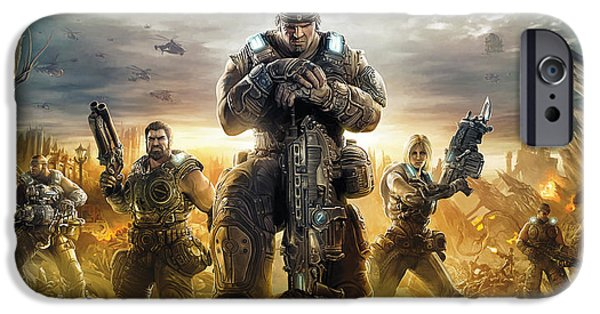 Gear iPhone Cases - Gears Of War Artwork iPhone Case by Sheraz A