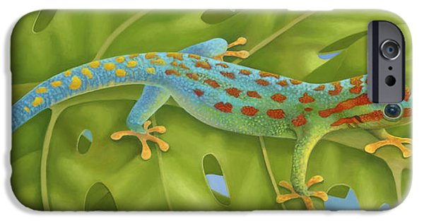 Philodendron iPhone Cases - Gecko iPhone Case by Laura Regan