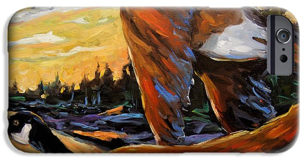 Canadian Geese Paintings iPhone Cases - Geese In Flight iPhone Case by Richard T Pranke