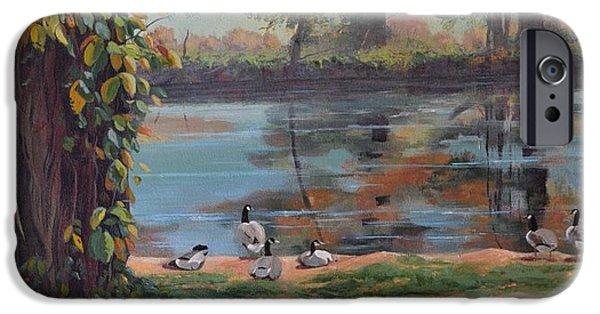 Canadian Geese Paintings iPhone Cases - Sunbathing Geese iPhone Case by Celeste Drewien