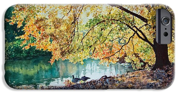 Sun Rays Paintings iPhone Cases - Geese Under a Tree iPhone Case by Ben Sapia