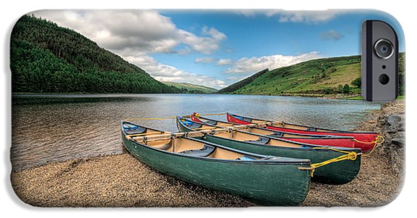 Green Canoe iPhone Cases - Geirionydd Lake iPhone Case by Adrian Evans