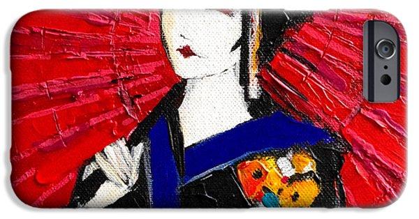 Prostitution Paintings iPhone Cases - Geisha iPhone Case by Mona Edulesco
