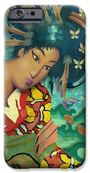 Butterfly Koi iPhone Cases - Geisha iPhone Case by Luis  Navarro