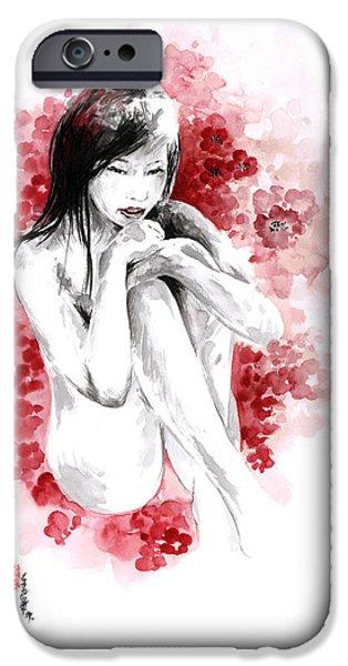 Cherry Blossoms Drawings iPhone Cases - Sakura - japanese woman. iPhone Case by Mariusz Szmerdt