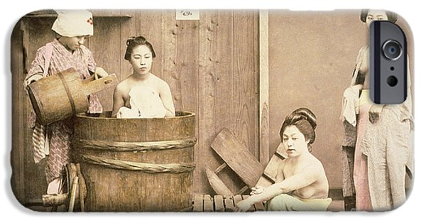Nudes Photographs iPhone Cases - Geishas bathing iPhone Case by English School