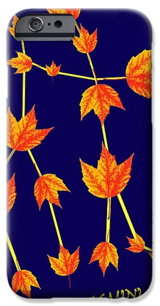 Surrealism Digital Art iPhone Cases - Gemini Constellation composed by Maple leaves iPhone Case by Paul Ge