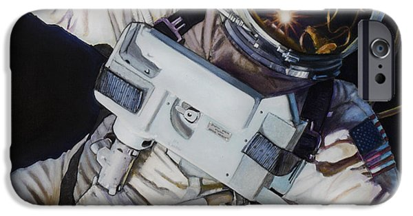 Science Paintings iPhone Cases - Gemini IV- Ed White iPhone Case by Simon Kregar
