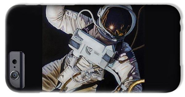 Moon iPhone Cases - Gemini IV- Ed White iPhone Case by Simon Kregar