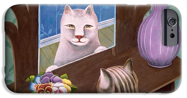 Cat Reflection iPhone Cases - Gemini iPhone Case by Jerzy Marek