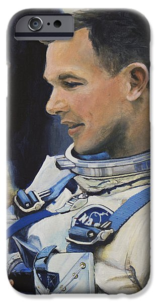 Astronaut iPhone Cases - Gemini VIII Dave Scott iPhone Case by Simon Kregar