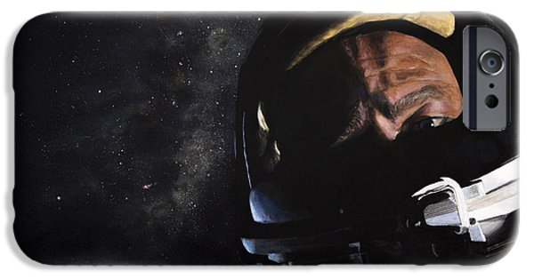 Science Paintings iPhone Cases - Gemini XII- Buzz Aldrin iPhone Case by Simon Kregar