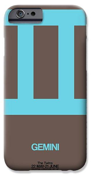 Sign iPhone Cases - Gemini Zodiac Sign Blue iPhone Case by Naxart Studio