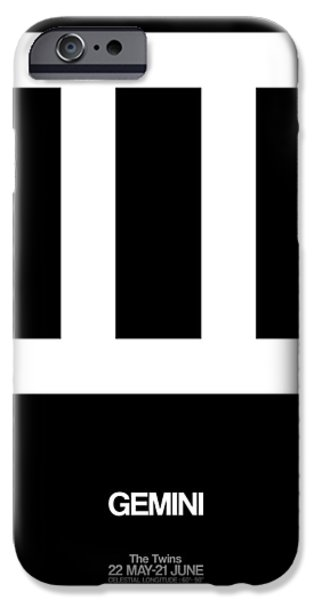 Sign iPhone Cases - Gemini Zodiac Sign White iPhone Case by Naxart Studio