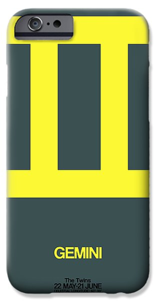Sign iPhone Cases - Gemini Zodiac Sign Yellow iPhone Case by Naxart Studio