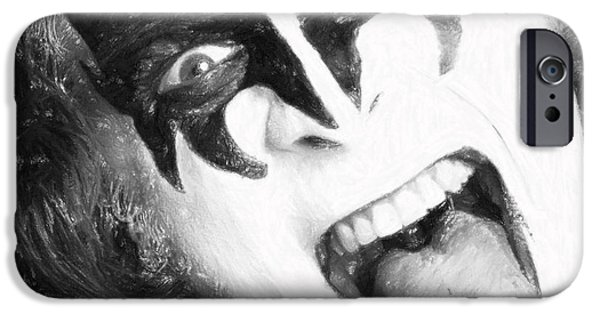Character Portraits Pastels iPhone Cases - Gene Simmons iPhone Case by Antony McAulay