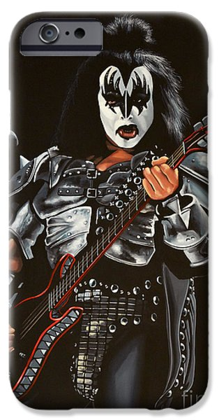 Idol Paintings iPhone Cases - Gene Simmons of Kiss iPhone Case by Paul Meijering