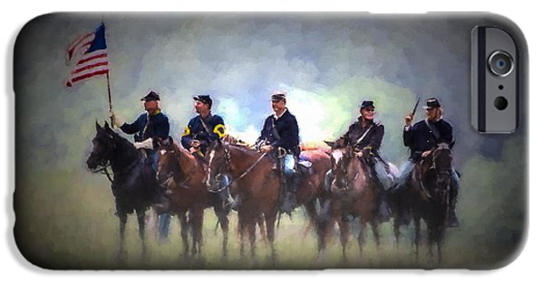 War iPhone Cases - General Beaufords Cavalry - Oil iPhone Case by Tommy Anderson