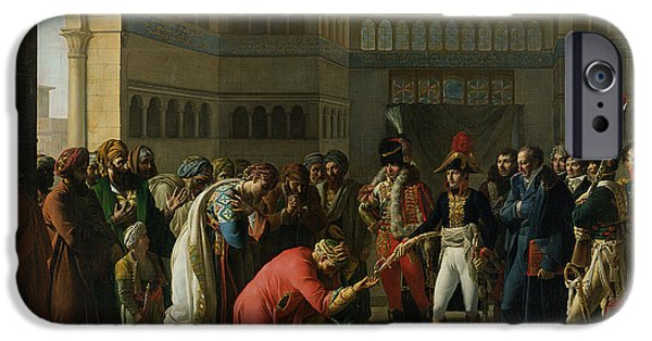 Alexandria iPhone Cases - General Bonaparte Giving A Sword To The Military Chief Of Alexandria, July 1798, 1808 Oil On Canvas iPhone Case by Francois Henri Mulard