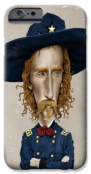 Caricature Digital Art iPhone Cases - General George Custer iPhone Case by Andre Koekemoer