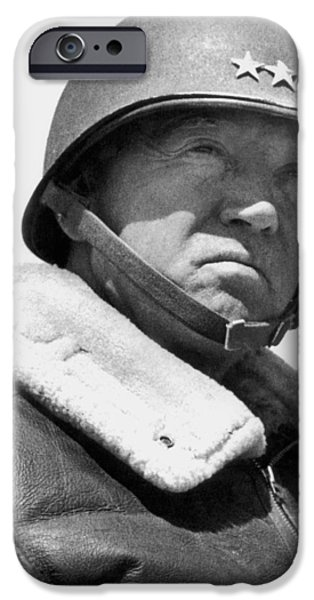 Portraits Photographs iPhone Cases - General George Patton iPhone Case by War Is Hell Store