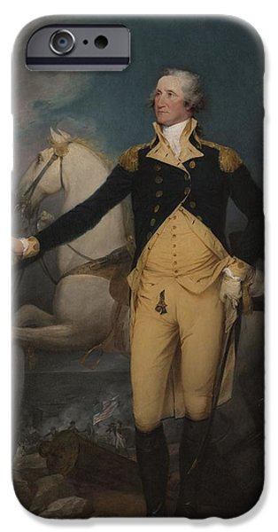 Officers iPhone Cases - General George Washington At Trenton, 1792 Oil On Canvas iPhone Case by John Trumbull