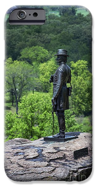 General Kemble Warren at Little Round Top iPhone Case by John Greim