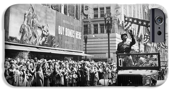 World War One Photographs iPhone Cases - General Patton Ticker Tape Parade iPhone Case by War Is Hell Store