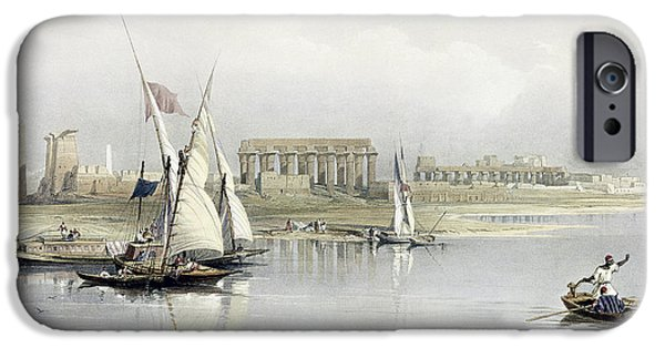 Boat iPhone Cases - General View of the Ruins of Luxor from the Nile iPhone Case by David Roberts