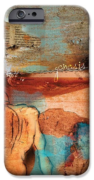 Old Digital Art iPhone Cases - Genesis 24 iPhone Case by Switchvues Design