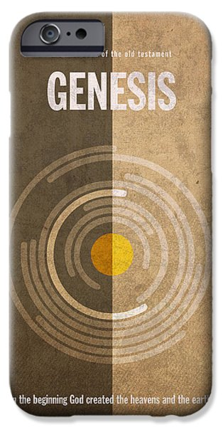 Bible Mixed Media iPhone Cases - Genesis Books of the Bible Series Old Testament Minimal Poster Art Number 1 iPhone Case by Design Turnpike