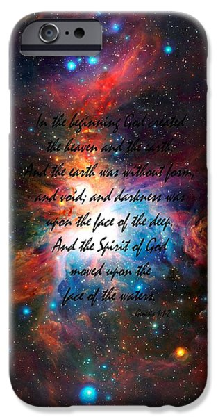 The Void iPhone Cases - Genesis Chapter 1 verses 1 and 2 VISTA Telescopes Infrared View Orion Nebula iPhone Case by L Brown
