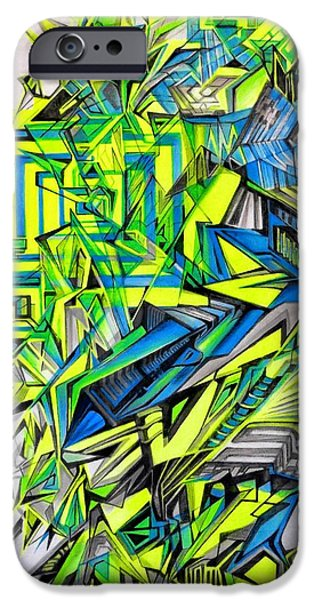 Abstract Digital Drawings iPhone Cases - Genesis Of Reality iPhone Case by The Door Project