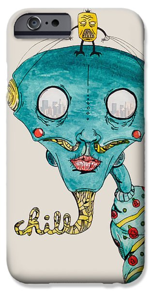 Ghetto Drawings iPhone Cases - Genie of Chill York iPhone Case by Virgil Angeles