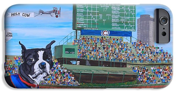 Chicago Paintings iPhone Cases - Geno at Wrigley 2014 iPhone Case by Mike Nahorniak