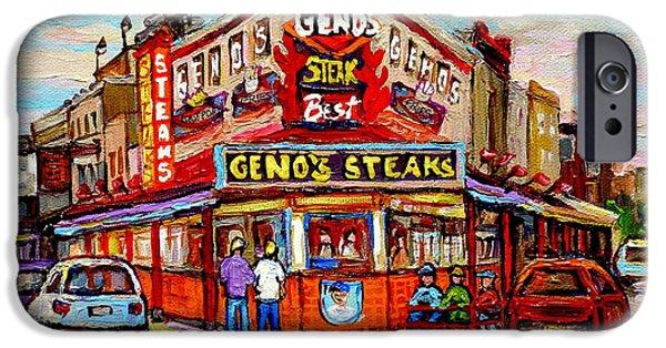 Phillies Paintings iPhone Cases - Genos Steaks Philadelphia Cheesesteak Restaurant South Philly Italian Market Scenes Carole Spandau iPhone Case by Carole Spandau