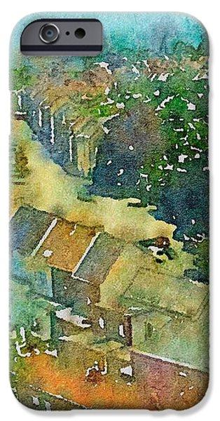Village iPhone Cases - Gent in Watercolor iPhone Case by Susan Maxwell Schmidt