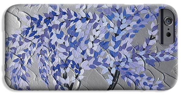Abstract Art On Canvas Paintings iPhone Cases - Gentle Breeze iPhone Case by Cathy Jacobs