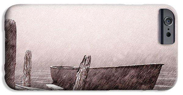 Winter Storm Drawings iPhone Cases - Gentle Current iPhone Case by Bob Orsillo