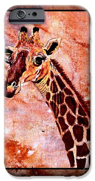 Wild Animals Tapestries - Textiles iPhone Cases - Gentle Giraffe iPhone Case by Sylvie Heasman