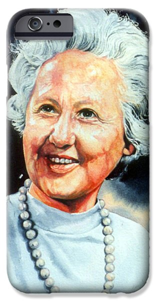 Painter Photo Paintings iPhone Cases - Gentle Grandmother Portrait iPhone Case by Hanne Lore Koehler