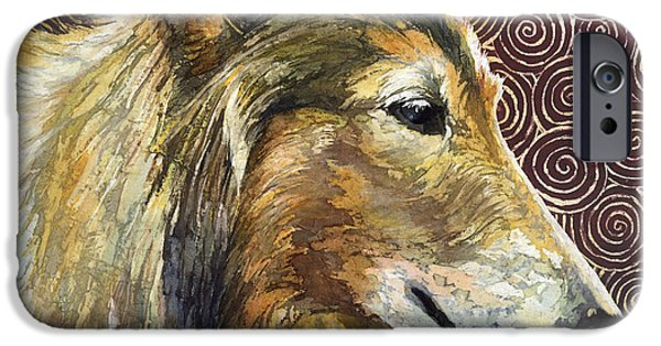 Dog Close-up Paintings iPhone Cases - Gentle Spirit - Reveille VIII iPhone Case by Hailey E Herrera