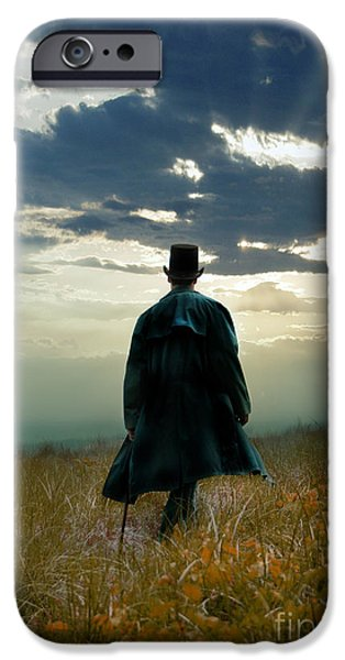 Eerie iPhone Cases - Gentleman in Top Hat Walking in Field iPhone Case by Jill Battaglia