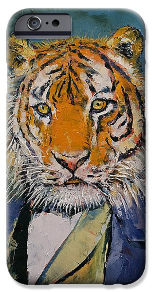 Michael Paintings iPhone Cases - Gentleman Tiger iPhone Case by Michael Creese