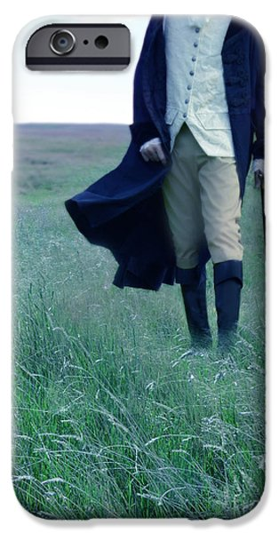 Young Man Photographs iPhone Cases - Gentleman Walking in the Country iPhone Case by Jill Battaglia