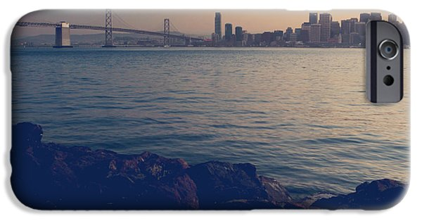San Francisco Bay Bridge iPhone Cases - Gently the Evening Comes iPhone Case by Laurie Search